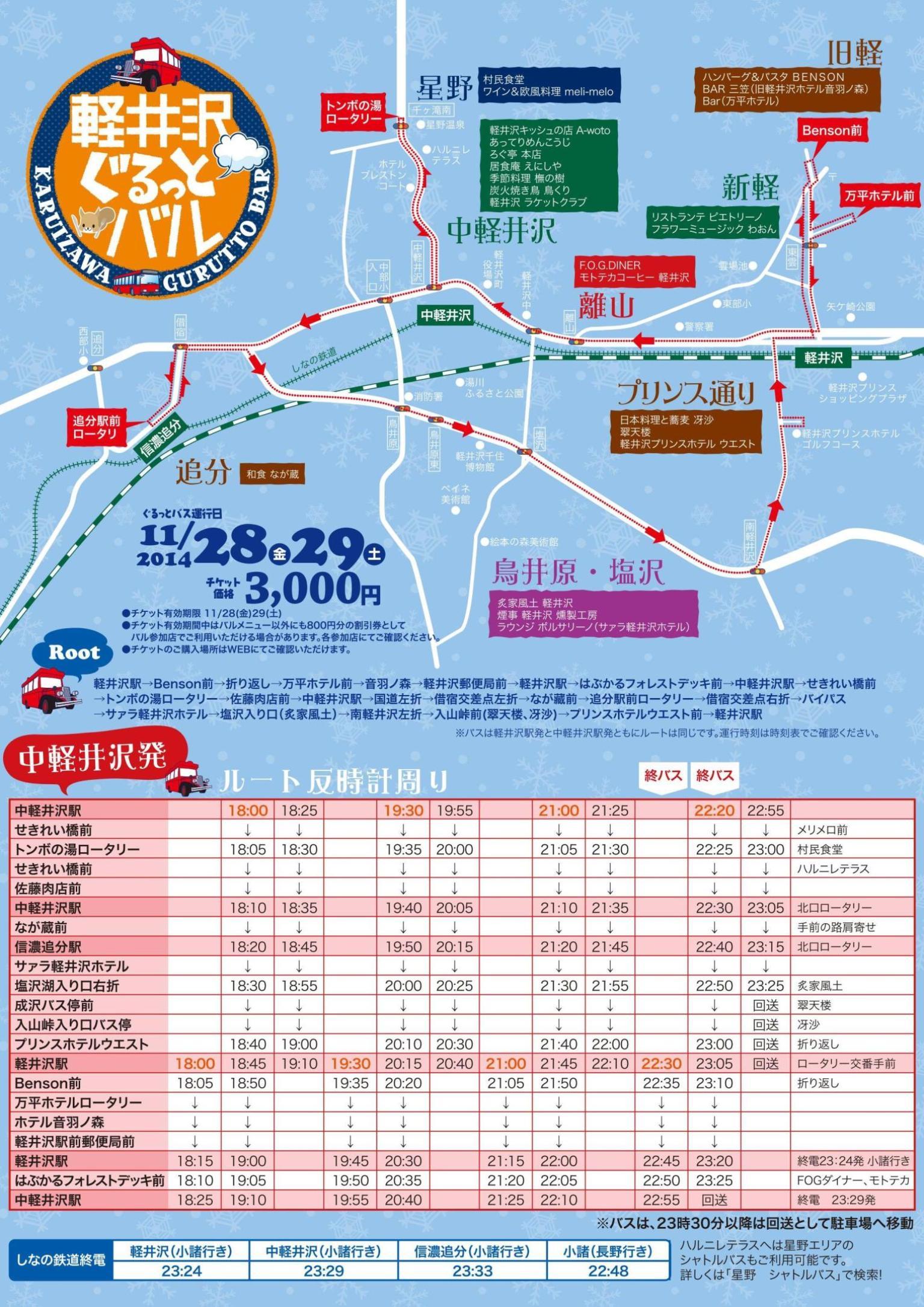 第3回(その2)軽井沢ぐるっとバル・バス時刻表